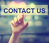 hand touching contact us banner