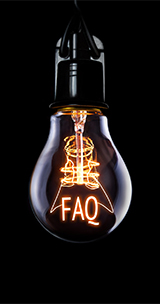 lightbulb with letters faq