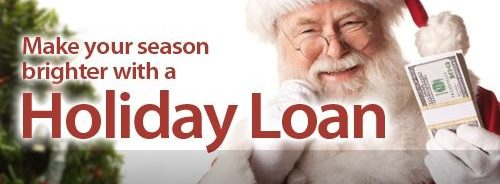 Holiday Loan Santa holding cash